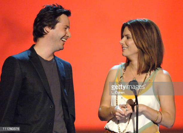 Keanu Reeves and Sandra Bullock presenters during 2006 MTV Movie Awards Show at Sony Pictures in Culver City California United States