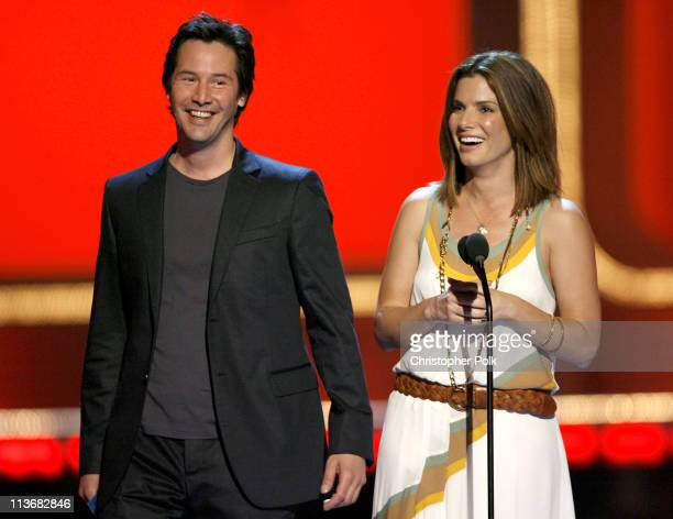 Keanu Reeves and Sandra Bullock presenters during 2006 MTV Movie Awards Show at Sony Studios in Culver City California United States