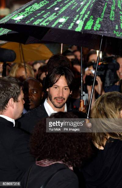 Keanu Reeves arriving for the UK premiere of The Matrix Reloaded at the Odeon cinema in London's Leicester Square
