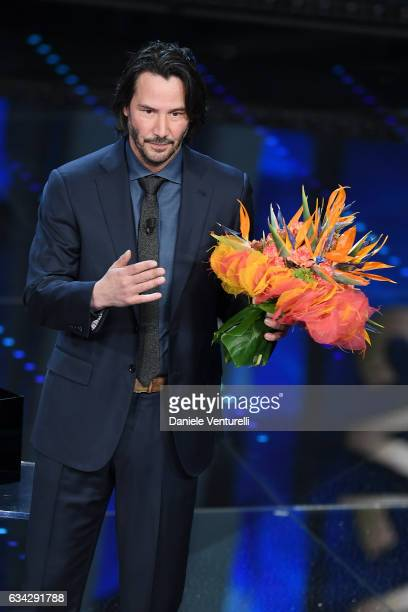 Keanu Reeves attends the second night of the 67th Sanremo Festival 2017 at Teatro Ariston on February 8 2017 in Sanremo Italy