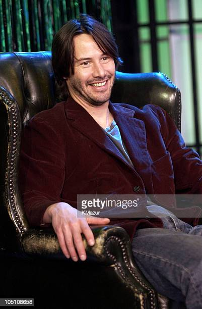 Keanu Reeves during The Cast of 'The Matrix Reloaded' and POD Visit MTV's 'TRL' May 5 2003 at MTV Studios Times Square in New York City New York...