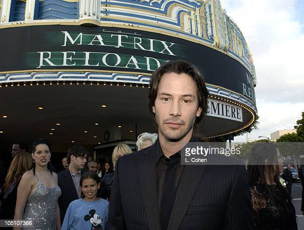Keanu Reeves during 'The Matrix Reloaded' Premiere Black Carpet at Mann Village Theater in Westwood California United States