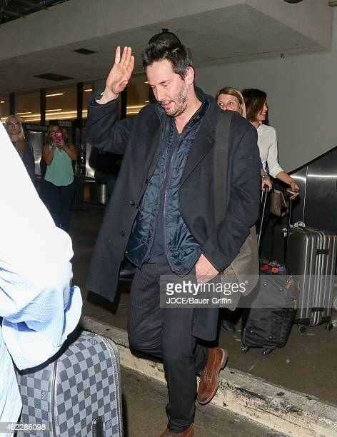 Keanu Reeves is seen at LAX on January 24 2015 in Los Angeles California