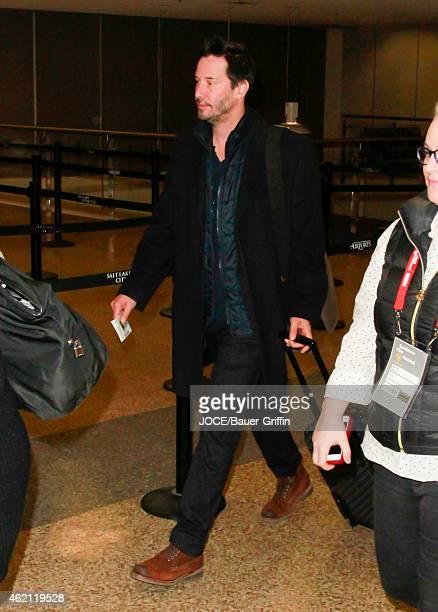 Keanu Reeves is seen at Salt Lake City Airport on January 24 2015 in Park City Utah