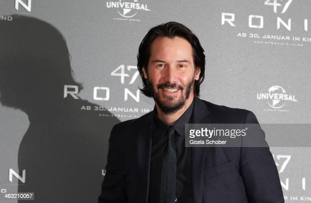 Keanu Reeves laughing attends the '47 Ronin' photocall at Hotel Bayerischer Hof on January 17 2014 in Munich Germany