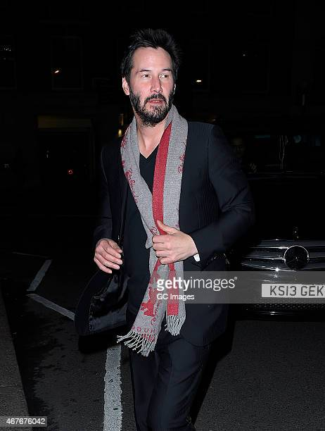 Keanu Reeves leaves Little House restaurant and bar in Mayfair on March 26 2015 in London England