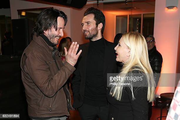 Keanu Reeves producer Andrea Iervolino and producer Monika Bacardi attend the AMBI MEDIA GROUP 2017 Sundance Film Festival Private Cocktail Reception...