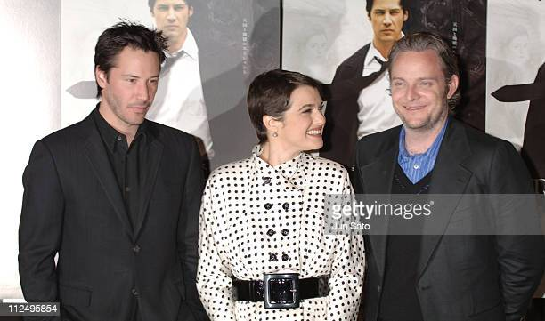 Keanu Reeves Rachel Weisz and Francis Lawrence during 'Constantine' Tokyo Premiere Arrivals at Tokyo International Forum in Tokyo Japan