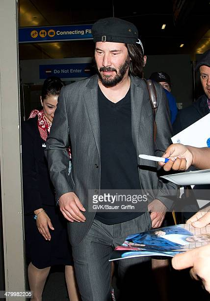 Keanu Reeves seen at LAX airport on March 21 2014 in Los Angeles California