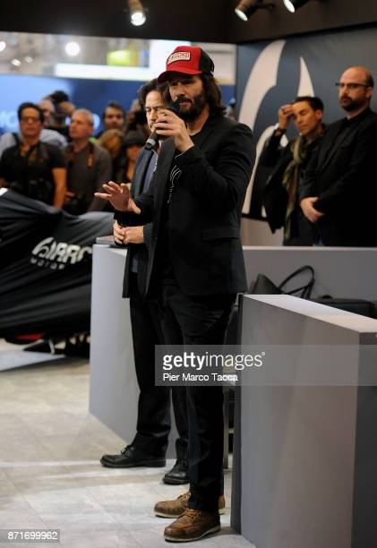 Keanu Reeves speaks during Arch press conference at EICMA 2017 the International Motorcycle Fair on November 8 2017 in Milan Italy