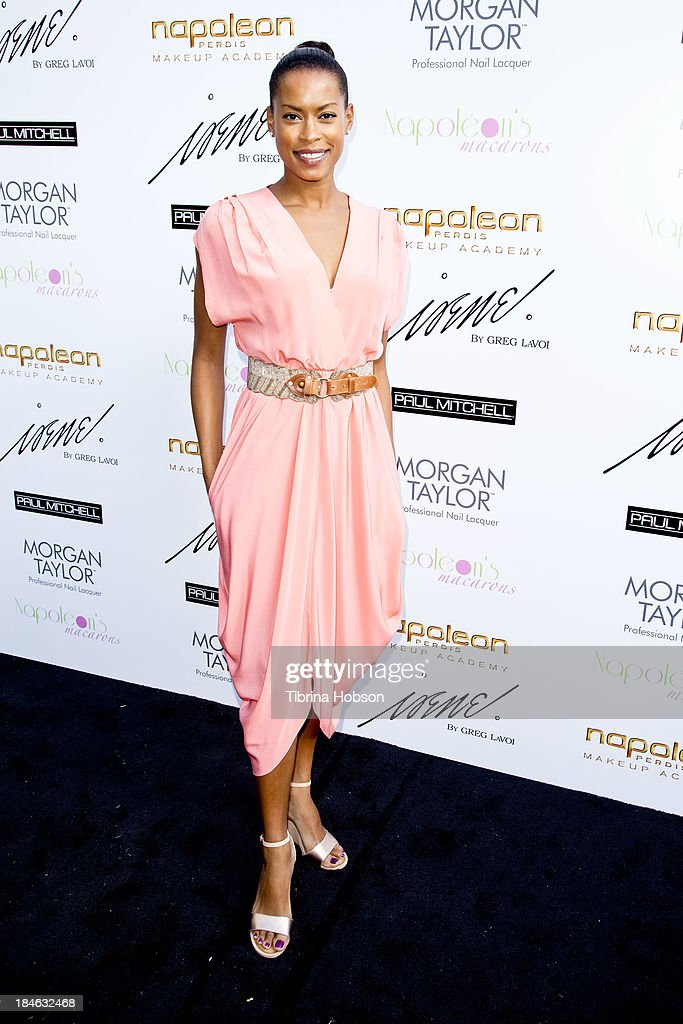 Kearran Giovanni attends the Greg Lavoi spring 2014 runway presentation at Kyoto Gardens on October 13, 2013 in Los Angeles, California.