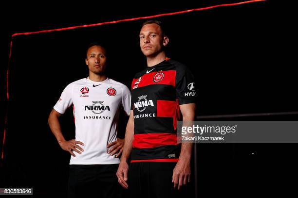 Kearyn Baccus and Brendon Santalab pose during the Western Sydney Wanderers 2017/18 ALeague Season kit launch on August 11 2017 in Sydney Australia