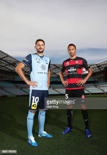 Kearyn Baccus of the Wanderers and Milos Ninkovic of Sydney FC pose during a joint Sydney FC and Western Sydney Wanderers ALeague media opportunity...