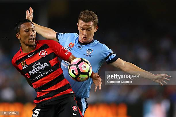 Kearyn Baccus of the Wanderers and ofBrandon O'Neill Sydney FC contest the ball during the round 15 ALeague match between Sydney FC and the Western...