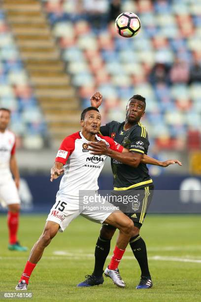 Kearyn Baccus of the Wanderers and Roly Bonevacia of the Phoenix compete for the ball during the round 18 ALeague match between the Wellington...