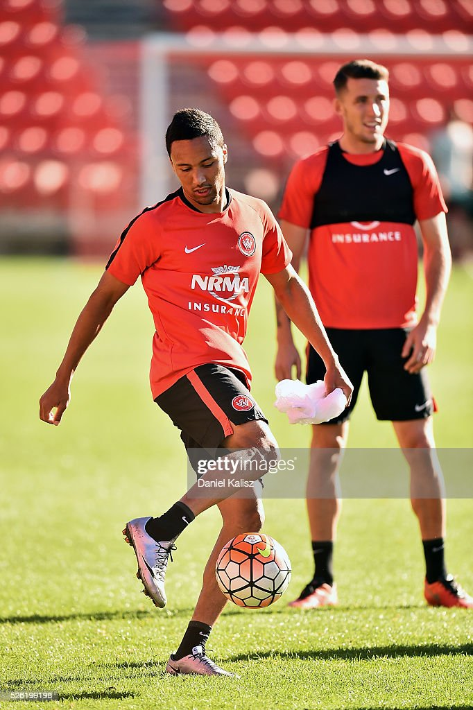 Kearyn Baccus of the Wanderers controls the ball during a Western Sydney Wanderers A-League training session at Coopers Stadium on April 30, 2016 in Adelaide, Australia.