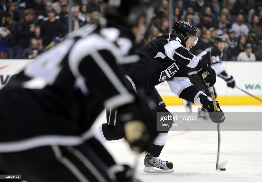 Keaton Ellerby #5 of the Los Angeles Kings makes a pass during the game against the Anaheim Ducks at Staples Center on February 25, 2013 in Los Angeles, California.