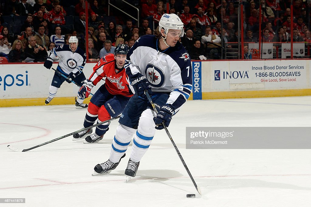 <a gi-track='captionPersonalityLinkClicked' href=/galleries/search?phrase=Keaton+Ellerby&family=editorial&specificpeople=4111546 ng-click='$event.stopPropagation()'>Keaton Ellerby</a> #7 of the Winnipeg Jets controls the puck in the second period during an NHL game against the Washington Capitals at Verizon Center on February 6, 2014 in Washington, DC.
