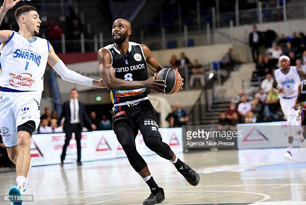 Keaton Grant of Dijon and Isaia Cordinier of Antibes during the Pro A match between Antibes sharks and JDA Dijon on November 4 2016 in Antibes France