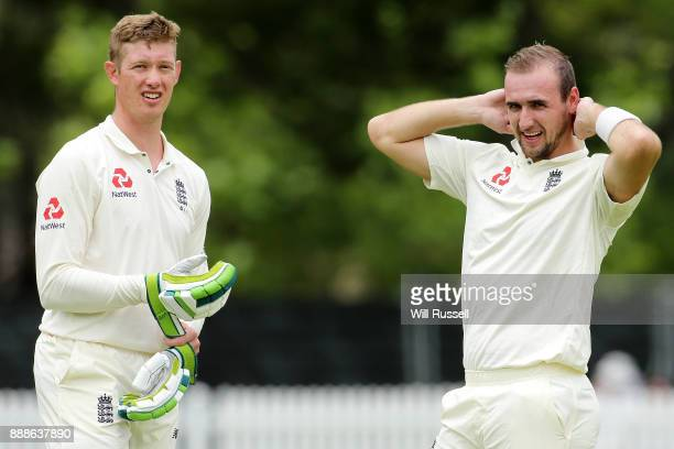 Keaton Jennings and Liam Livingstone of England at the drinks break during the Two Day tour match between the Cricket Australia CA XI and England at...
