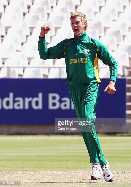 AFRICA JANUARY 20 Keaton Jennings celebrates the wicket of Matthew Bentley during the One day international U19 match between South Africa and...