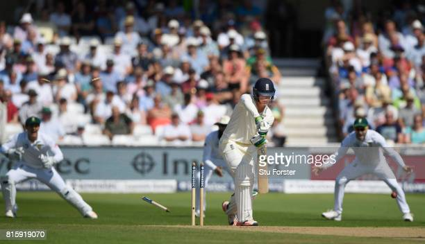 Keaton Jennings is bowled by Philander for 3 runs during day four of the 2nd Investec Test match between England and South Africa at Trent Bridge on...