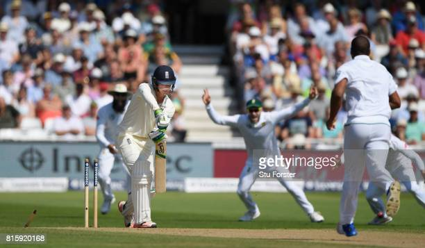 Keaton Jennings is bowled by Vernon Philander for 3 runs during day four of the 2nd Investec Test match between England and South Africa at Trent...