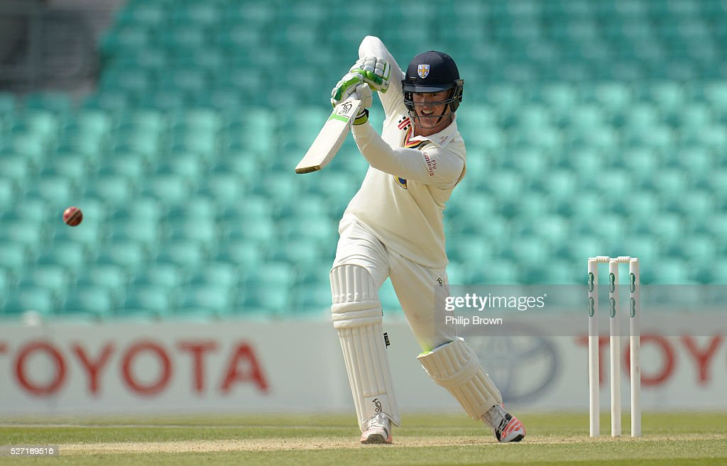Keaton Jennings of Durham bats during day two of the Specsavers County Championship Division One match between Surrey and Durham at the Kia Oval on May 2, 2016 in London, England.