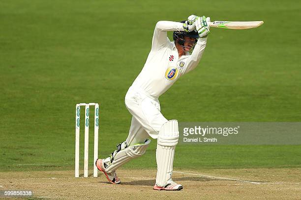 Keaton Jennings of Durham bats during Day Two of the Specsavers County Championship Division One match between Yorkshire and Durham at Headingley on...