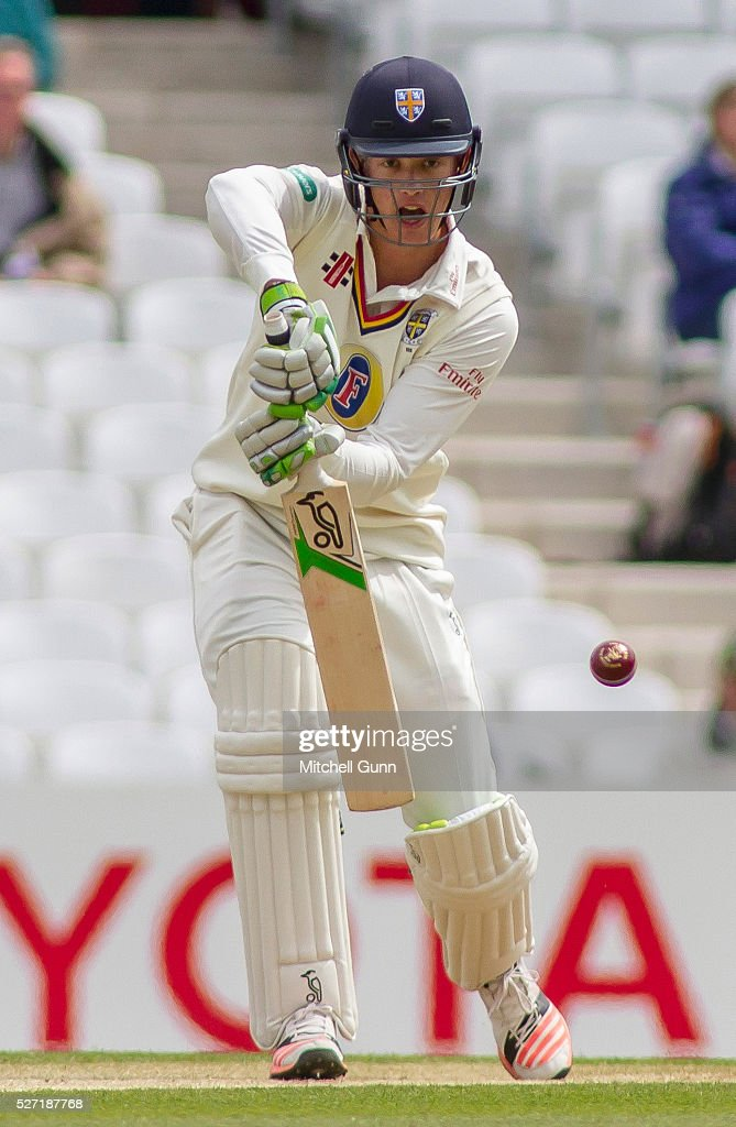 Keaton Jennings of Durham batting during the Specsavers County Championship Division One match between Surrey and Durham at the Kia Oval Cricket Ground, on May 02, 2016 in London, England.