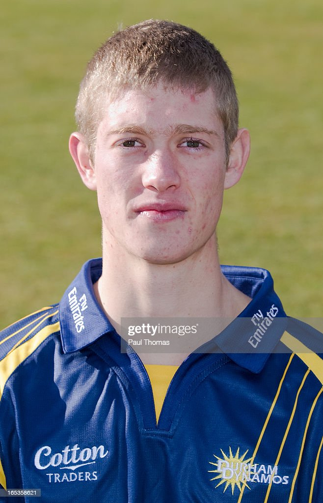 Keaton Jennings of Durham CCC wears the Yorkshire Bank 40 kit during a pre-season photocall at The Riverside on April 3, 2013 in Chester-le-Street, England.