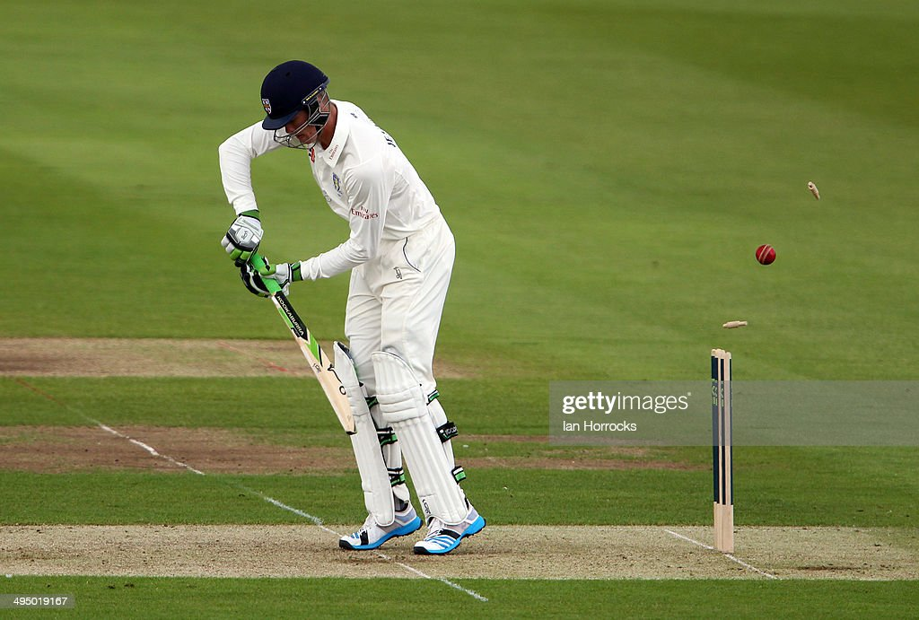 Keaton Jennings of Durham is bowled out during The LV County Championship match between Durham and Middlesex at The Emirates Durham ICG on June 01...