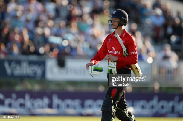 Keaton Jennings of Durham Jets looks on after being run out during the NatWest T20 Blast match between Derbyshire Falcons and Durham Jets at The 3aaa...