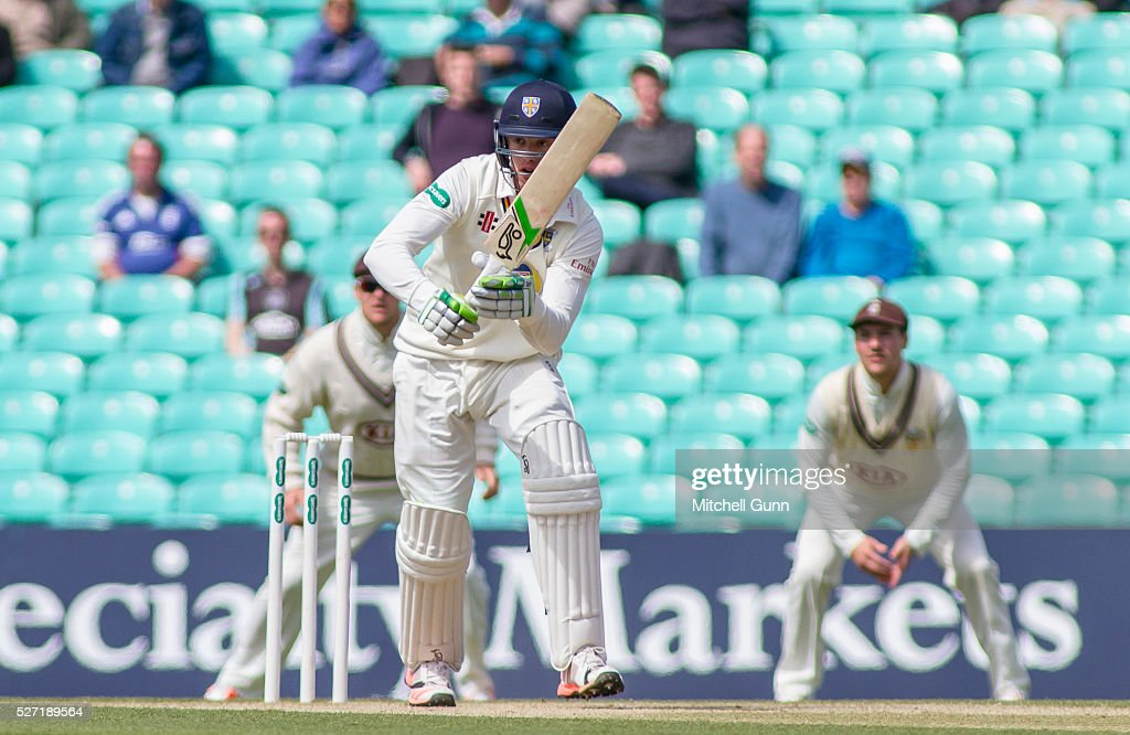 Keaton Jennings of Durham plays a shot during the Specsavers County Championship Division One match between Surrey and Durham at the Kia Oval Cricket Ground, on May 02, 2016 in London, England.