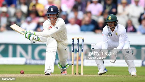 Keaton Jennings of England bats during day three of the 4th Investec Test match between England and South Africa at Old Trafford on August 6 2017 in...