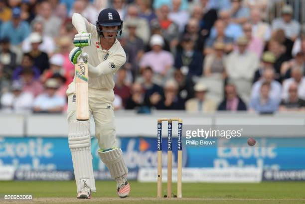 Keaton Jennings of England bats during the third day of the 4th Investec Test match between England and South Africa at Old Trafford cricket ground...