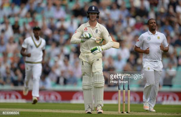 Keaton Jennings of England leaves the field after being dismissed by Vernon Philander of South Africa during the first day of the 3rd Investec Test...
