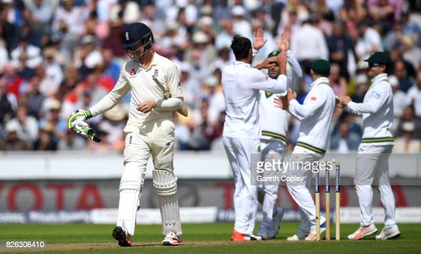 Keaton Jennings of England leaves the field after being dismissed by Duanne Olivier of South Africa during day one of the 4th Investec Test between...