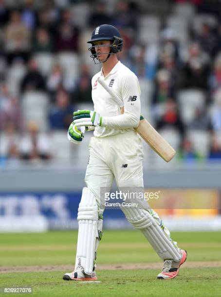 Keaton Jennings of England leaves the field after being dismissed by Kagiso Rabada of South Africa during day three of the 4th Investec Test match...