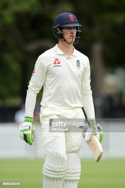 Keaton Jennings of England leaves the field after being dismissed by Michael Cormack of Australia during the Two Day tour match between the Cricket...