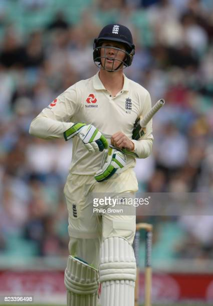 Keaton Jennings of England leaves the field after being dismissed during the first day of the 3rd Investec Test match between England and South...