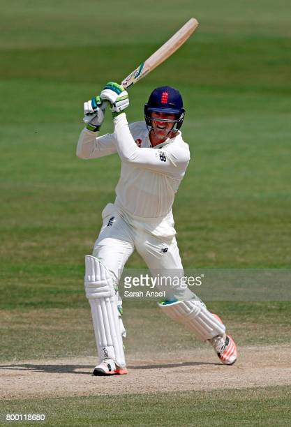 Keaton Jennings of England Lions hits out during day 3 of the match between England Lions and South Africa A at The Spitfire Ground on June 23 2017...