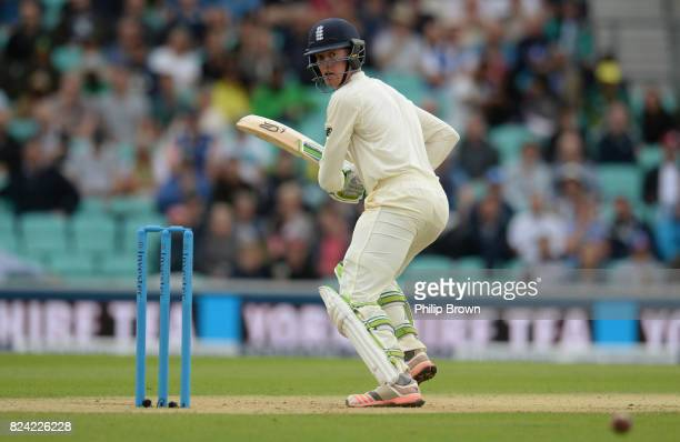 Keaton Jennings of England reacts after a shot during the third day of the 3rd Investec Test match between England and South Africa at the Kia Oval...