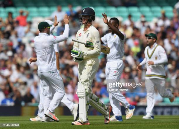 Keaton Jennings of England walks back to the Pavilion after losing his wicket to Kagiso Rabada of South Africa during day four of the 3rd Investec...
