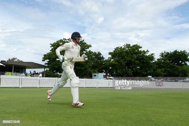 Keaton Jennings of England walks out to bat during the Two Day tour match between the Cricket Australia CA XI and England at Richardson Park on...