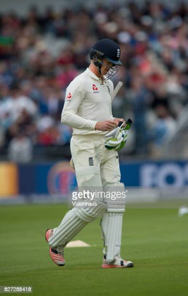 Keaton Jennings of England walks to the dressing room after being caught behind during the third day of the fourth test between England and South...