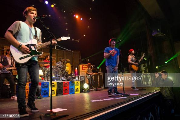 Keaton Stromberg Wesley Stromberg and Drew Chadwick of Emblem3 performs live onstage at Egyptian Room at Old National Centre on February 15 2014 in...