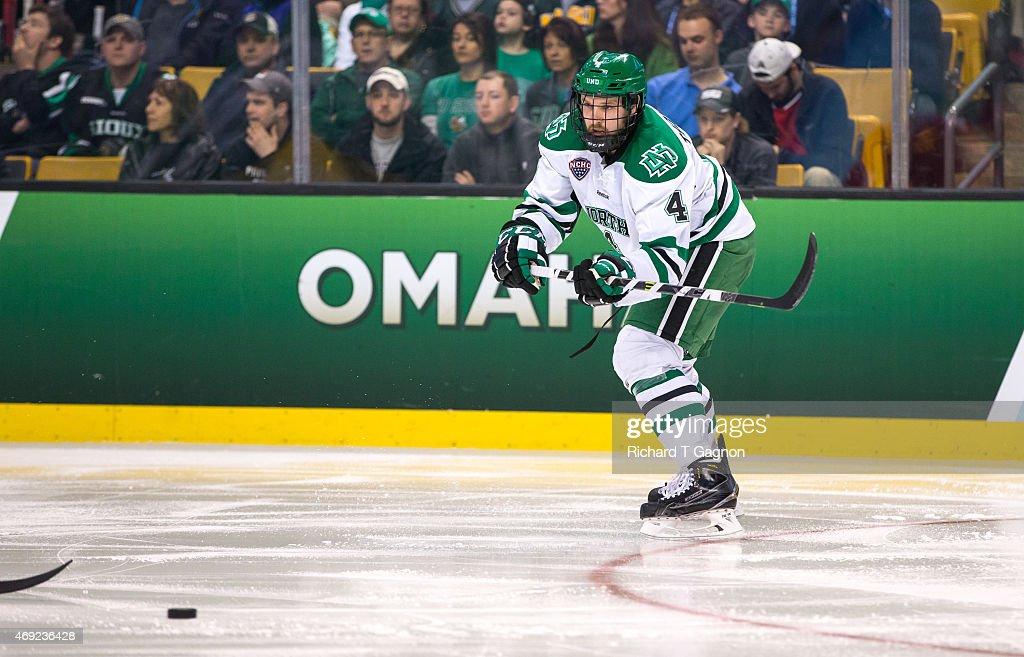 Keaton Thompson of North Dakota skates against the Boston University Terriers during the 2015 NCAA Division I Men's Hockey Frozen Four Championship...