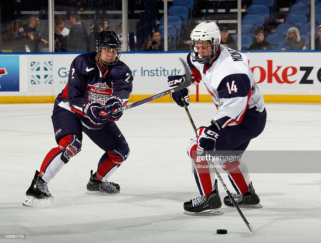 Keaton Thompson of Team Housley defends against Jacob Montgomery of Team McClanahan at the USA Hockey AllAmerican Prospects Game at the First Niagara...