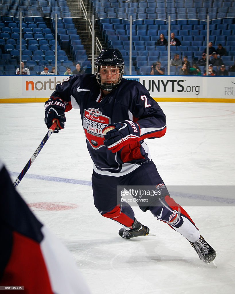 Keaton Thompson of Team Housley skates against Team McClanahan at the USA Hockey AllAmerican Prospects Game at the First Niagara Center on September...